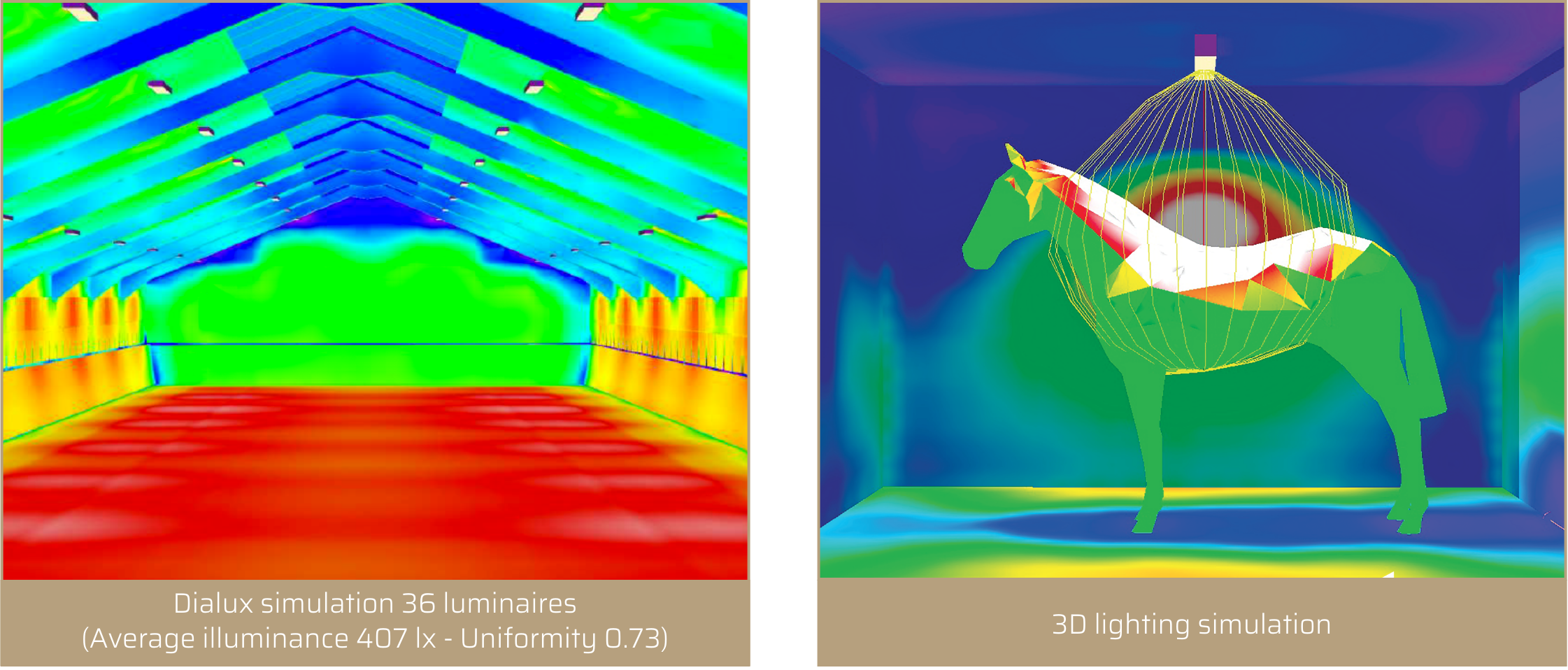 PROXIMAL Lighting study - Equestrian arena, horse stables